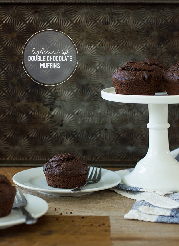 Light and tender double chocolate muffins made healthier with NO white flour, coconut oil, and just enough brown sugar for sweetness -- a chocolatey treat without the guilt. {Dairy-Free} | www.brighteyedbaker.com