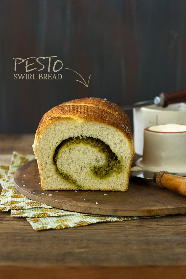 Pesto Swirl Bread - A fluffy loaf swirled with basil pesto and sprinkled with sea salt. | www.brighteyedbaker.com