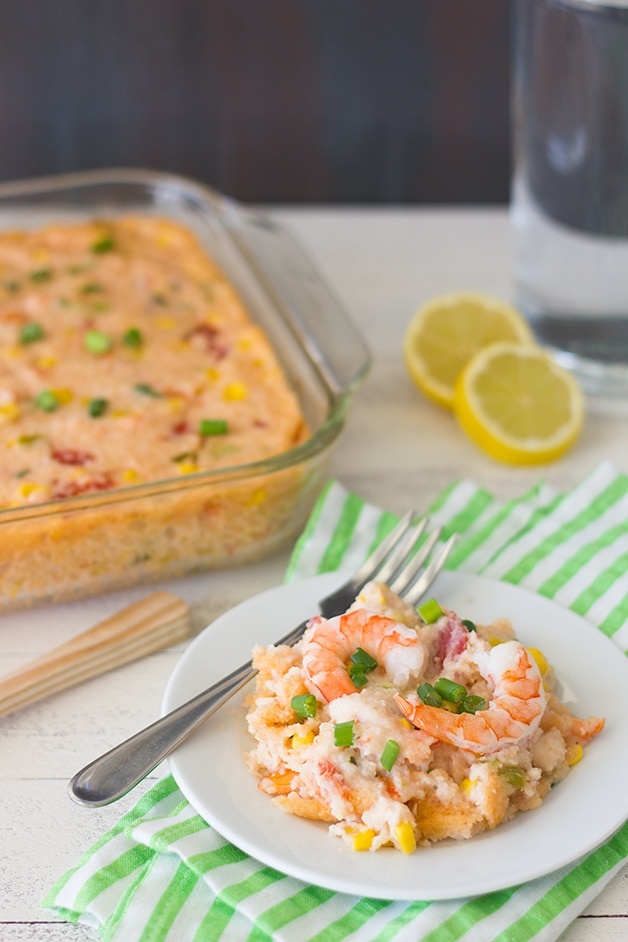 Lightened-Up Shrimp and Grits Casserole - total comfort food for all year round - with less guilt! | www.brighteyedbaker.com