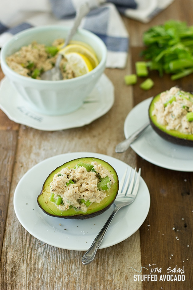 Tuna Salad Stuffed Avocado - A fresh, light, and healthy lunch or side dish that couldn't be easier to put together! | www.brighteyedbaker.com