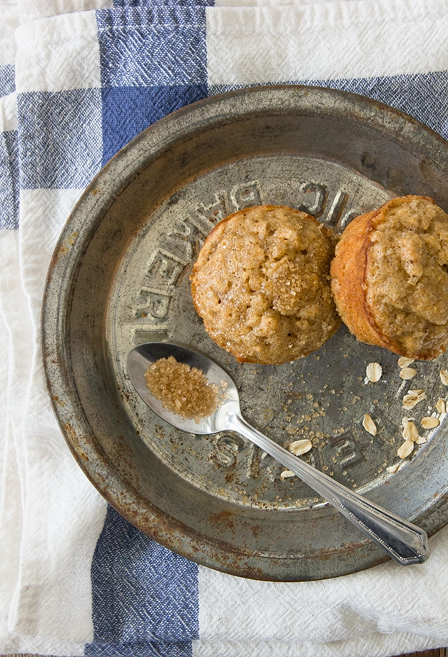 Banana Oat Muffins - moist and light muffins that are GF & Dairy-Free   www.brighteyedbaker.com