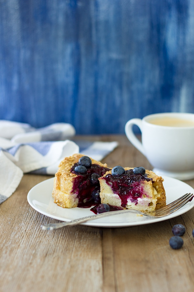 Cream Cheese-Stuffed Baked French Toast & Blueberry Compote - an ...