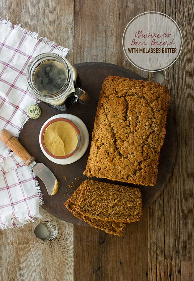 Guinness Beer Bread with Molasses Butter - an Irish twist on a classic! | www.brighteyedbaker.com