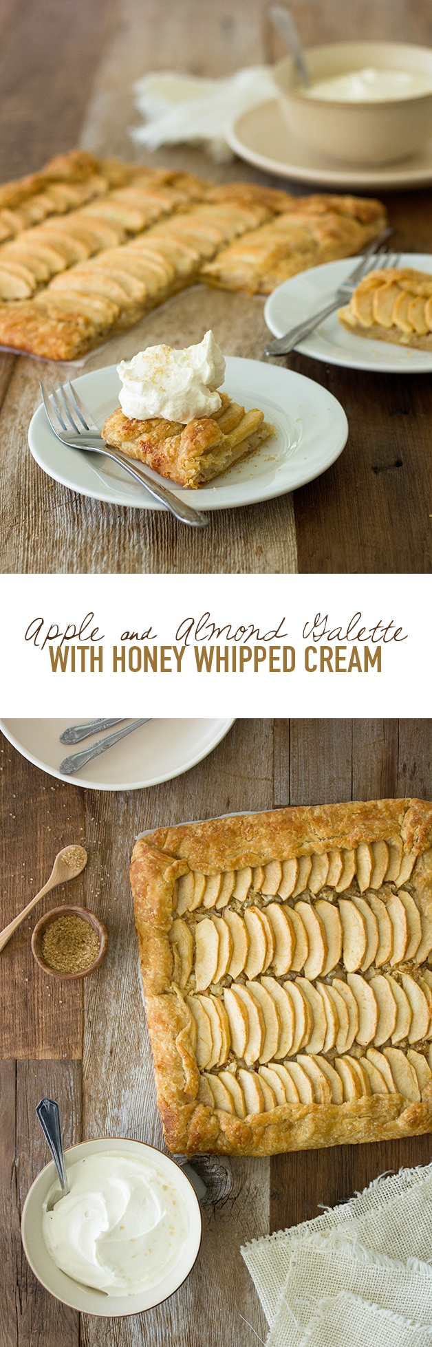 Apple and Almond Galette with Honey Whipped Cream - a light, rustic, fruity dessert.   www.brighteyedbaker.com