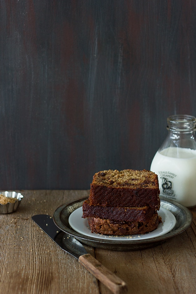 Cinnamon-Swirl Chocolate Chip Banana Bread... The ultimate banana bread - moist, studded with plenty of chocolate, and swirled with a hefty dose of cinnamon-sugar. | www.brighteyedbaker.com