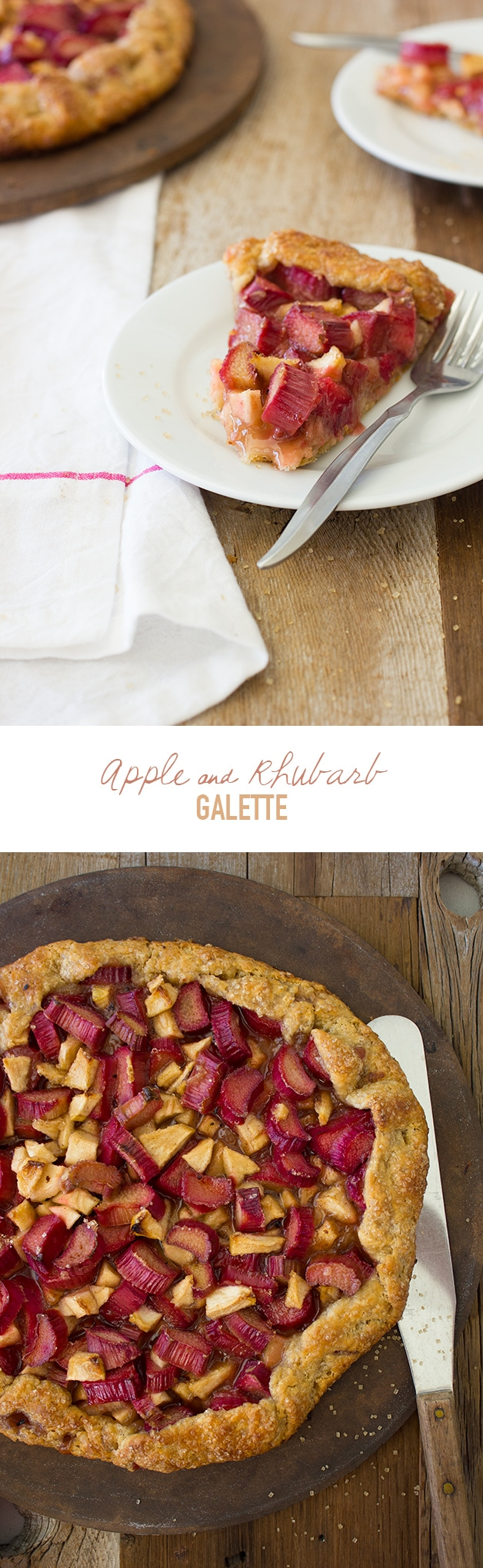Apple & Rhubarb Galette - A flaky free-form pie piled high with juicy fruit and topped with a hefty sprinkle of raw sugar. | www.brighteyedbaker.com #OXOGreenSaver @OXO @MelissasProduce