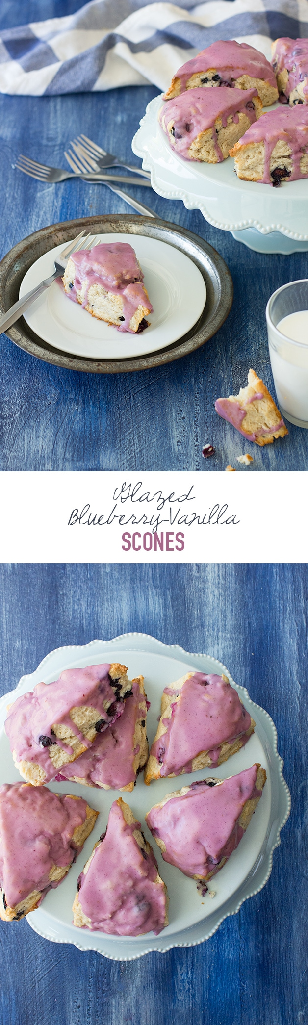 Glazed Blueberry Vanilla Bean Scones - fluffy and tender scones with an amazing vanilla flavor and juicy bits of blueberry taking center stage - plus a sweet, colorful blueberry glaze! | www.brighteyedbaker.com