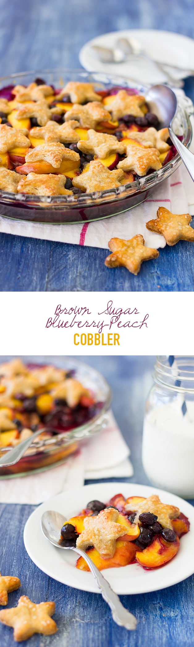 Brown Sugar Blueberry-Peach Cobbler - A juicy mixture of seasonal fruit sweetened with brown sugar and topped with flaky, buttery, pie crust stars for a patriotic twist.   www.brighteyedbalker.com