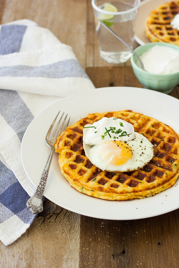 Cheddar & Chive Cornbread Waffles - an extra-cheesy, savory spin on waffles - think breakfast for dinner!   www.brighteyedbaker.com