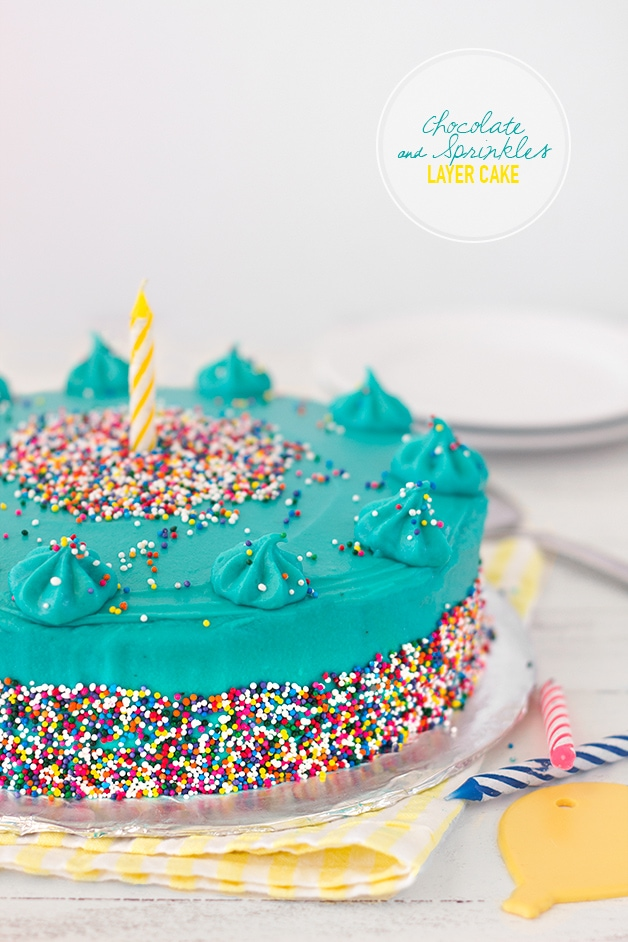 Chocolate & Sprinkles Layer Cake | An extra fun celebration cake - supremely tender, moist, and chocolatey, with sweet cream cheese frosting and a heavy dose of colorful sprinkles. | www.brighteyedbaker.com