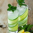 Cucumber-Mint Gin Fizz - a crisp, refreshing spin on the gin fizz with an added hint of basil and elderflower liqueur. | www.brighteyedbaker.com