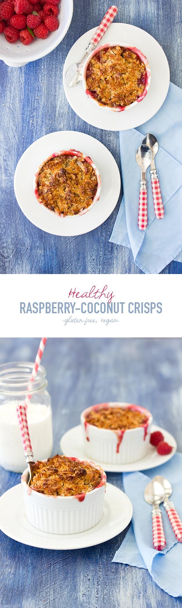Healthy Raspberry-Coconut Crisps: an easy, made-for-two crisp recipe that's #glutenfree and #vegan | https://www.brighteyedbaker.com