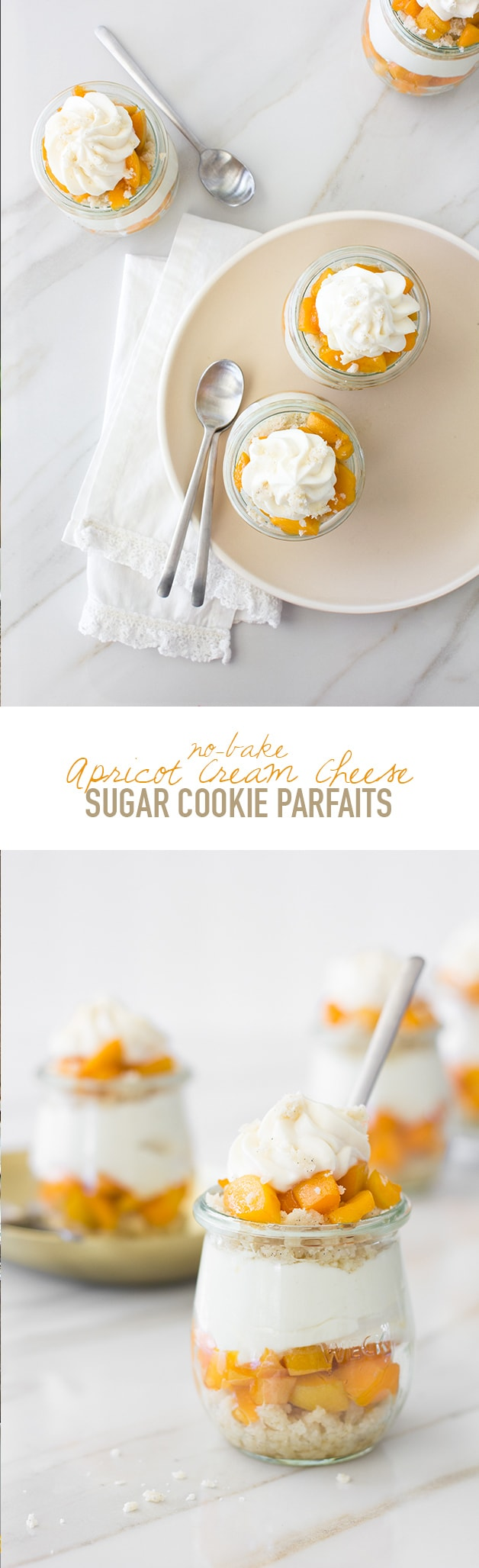 No-Bake Apricot Cream Cheese Sugar Cookie Parfaits - A refreshingly light, fruity dessert that combines no-bake sugar cookie dough crumbles with juicy, tangy-sweet apricots and silky cream cheese whipped cream. It's the perfect sweet treat for summer!| www.brighteyedbaker.com