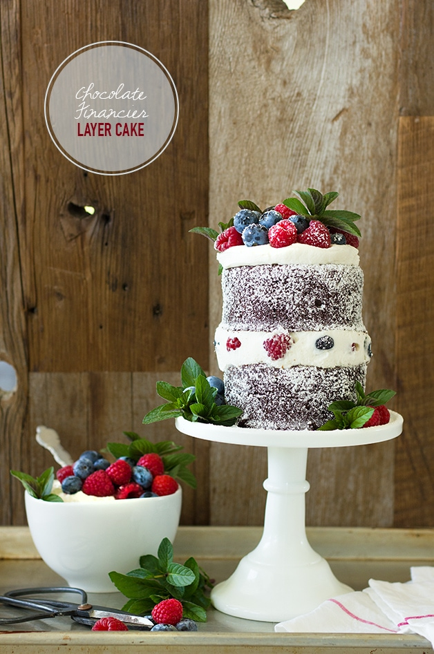 Chocolate Financier Layer Cake with Mascarpone Whipped Cream & Berries ...