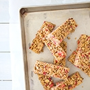 5-Ingredient Strawberry Almond Cereal Bars {GF, Vegan} - a simple, healthy snack made with 5 all-natural ingredients, sweetened with agave, and loaded with tangy freeze-dried strawberries. | www.brighteyedbaker.com