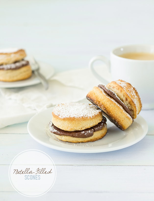 Nutella-Filled Scones - Buttery, flaky scones sandwiched with a hefty dose of rich Nutella  ➝ Pure heaven. | www.brighteyedbaker.com