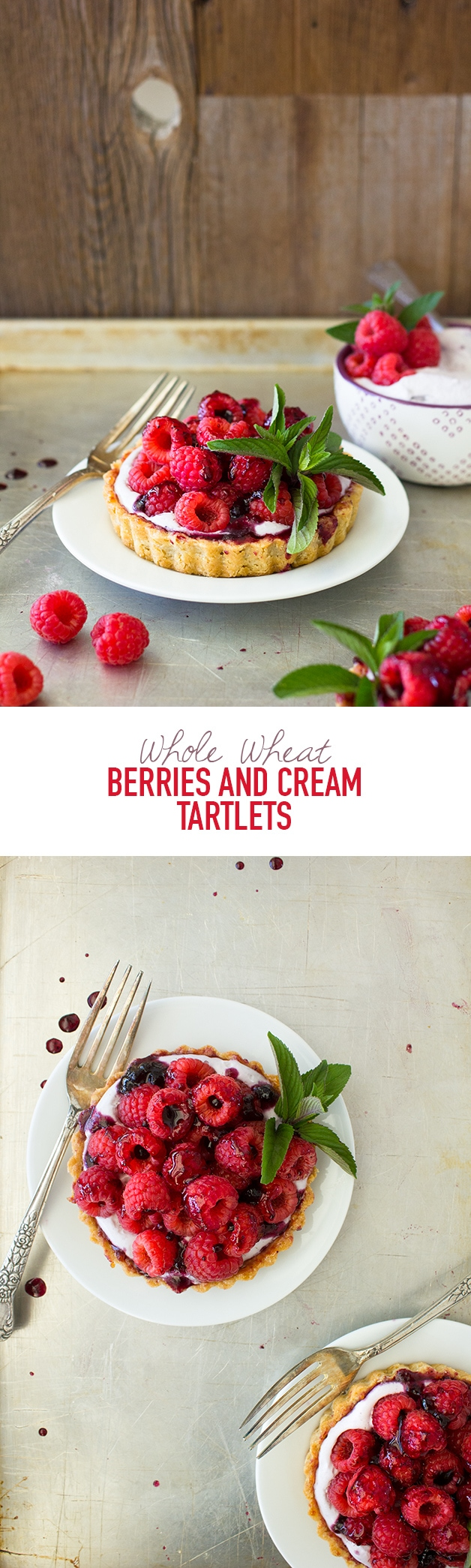 Whole Wheat Berries and Cream Tartlets | Mini tarts with a light, shortbread-like crust, filled with sweet berry whipped cream and topped with plenty of fresh, juicy berries. | www.brighteyedbaker.com