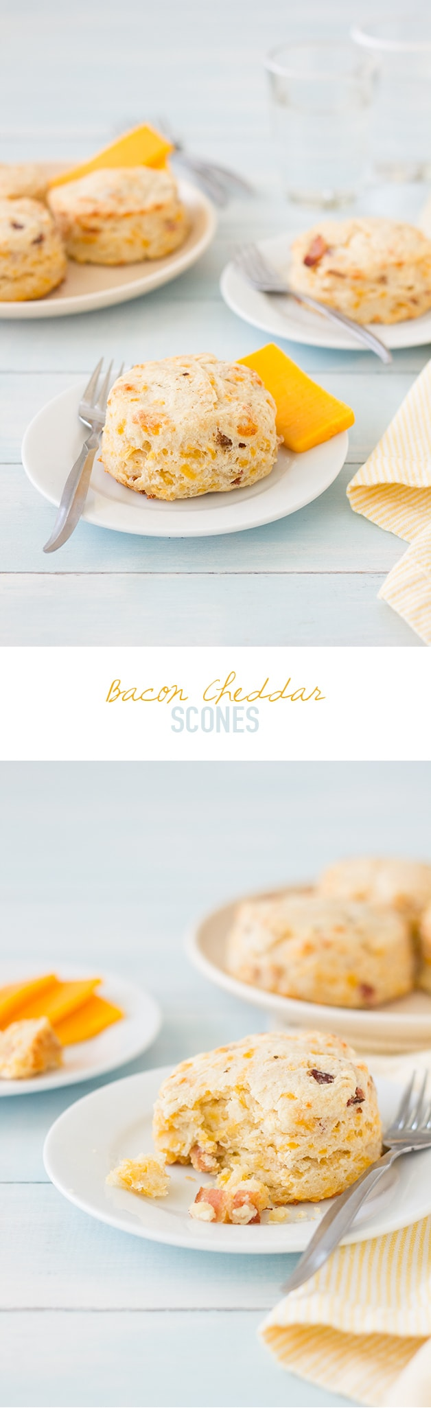 Bacon Cheddar Scones -Flaky, buttery scones flecked with bits of tangy cheddar and crisp bacon. | www.brighteyedbaker.com