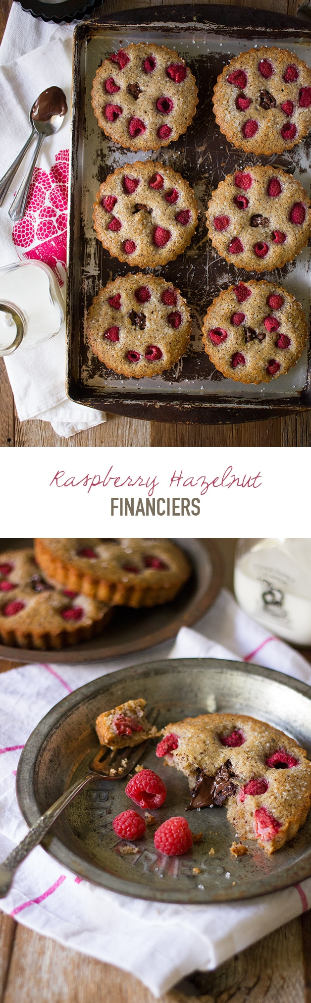Raspberry Hazelnut Financiers - Super-soft French hazelnut teacakes studded with juicy raspberries, plus a creamy chocolate-hazelnut center. | www.brighteyedbaker.com