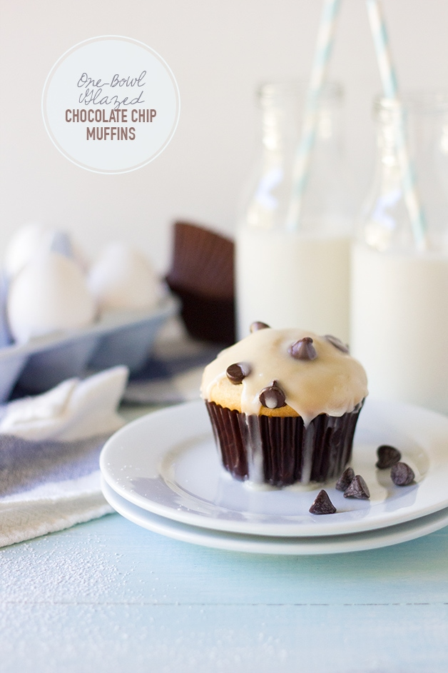 One-Bowl Glazed Chocolate Chip Muffins - a super-simple recipe for classic chocolate chip muffins with a sweet vanilla glaze. | www.brighteyedbaker.com