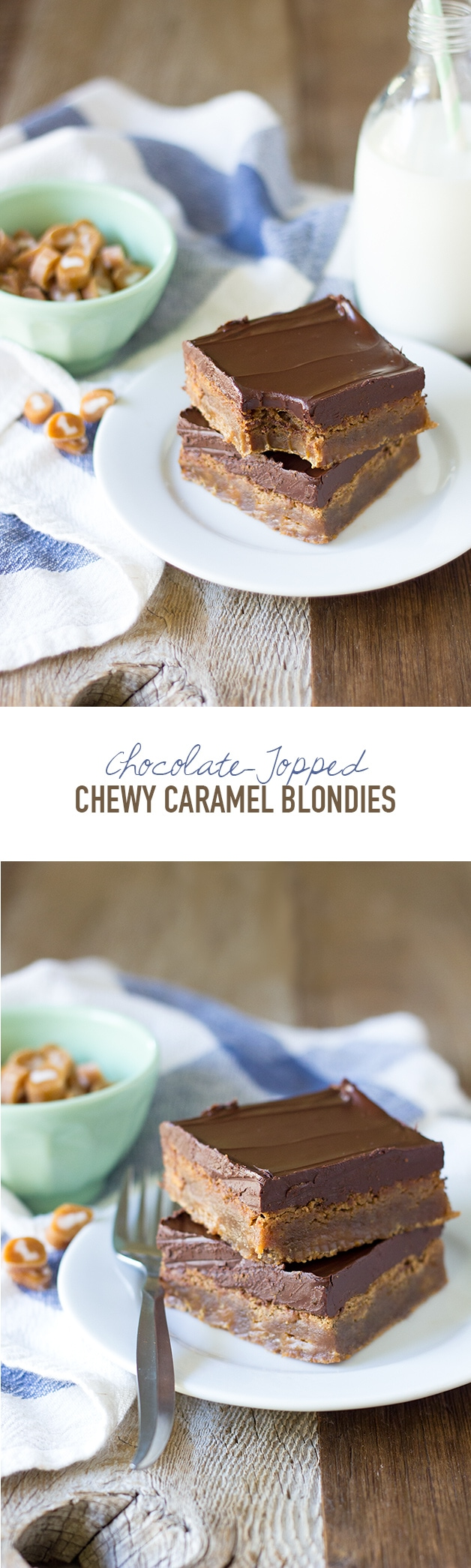Chocolate-Topped Chewy Caramel Blondies | www.brighteyedbaker.com