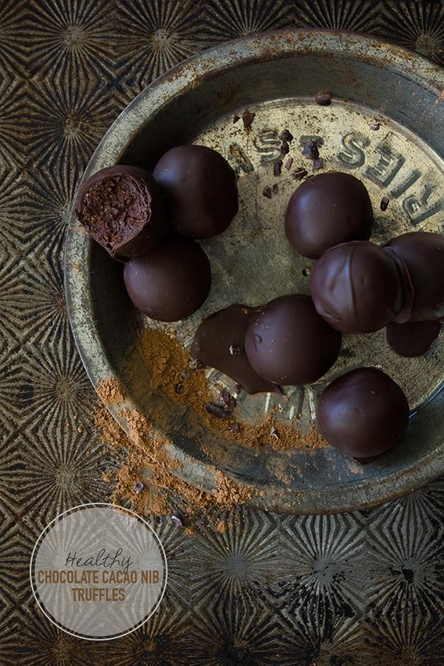 Healthy Chocolate Cacao Nib Truffles {gluten-free, vegan} | www.brighteyedbaker.com