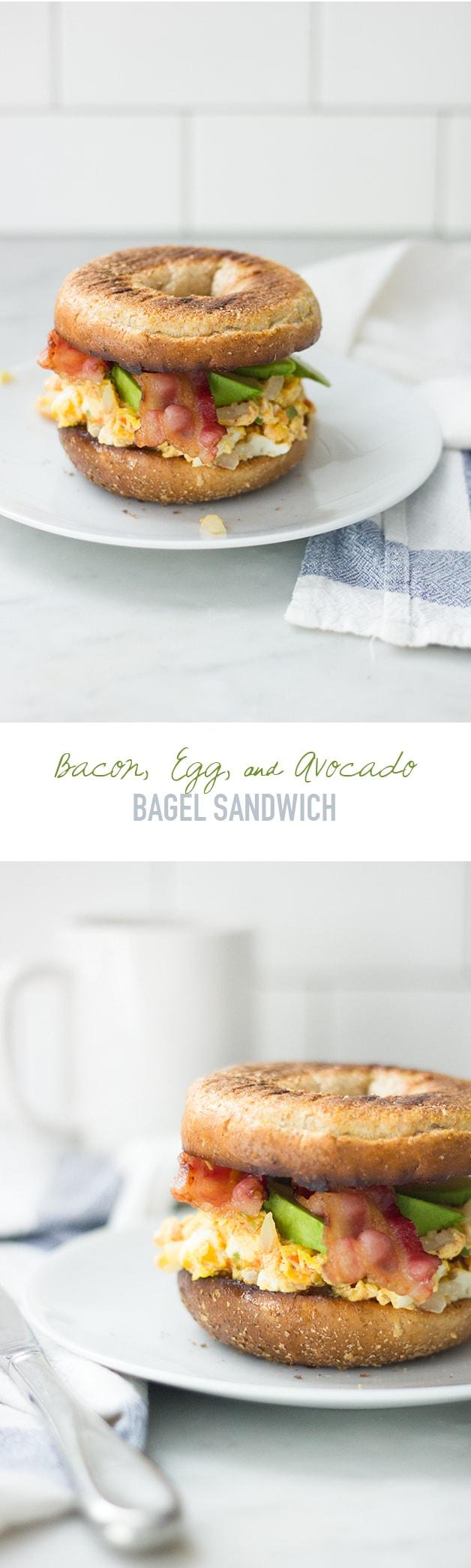 Bacon, Egg, & Avocado Bagel Sandwich | www.brighteyedbaker.com