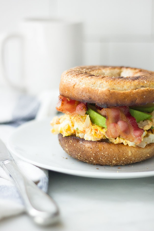 Bacon, Egg, & Avocado Bagel Sandwich | www.brighteyedbaker.com