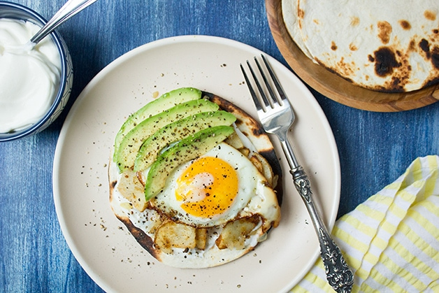 Spicy Egg & Potato Tostadas | www.brighteyedbaker.com