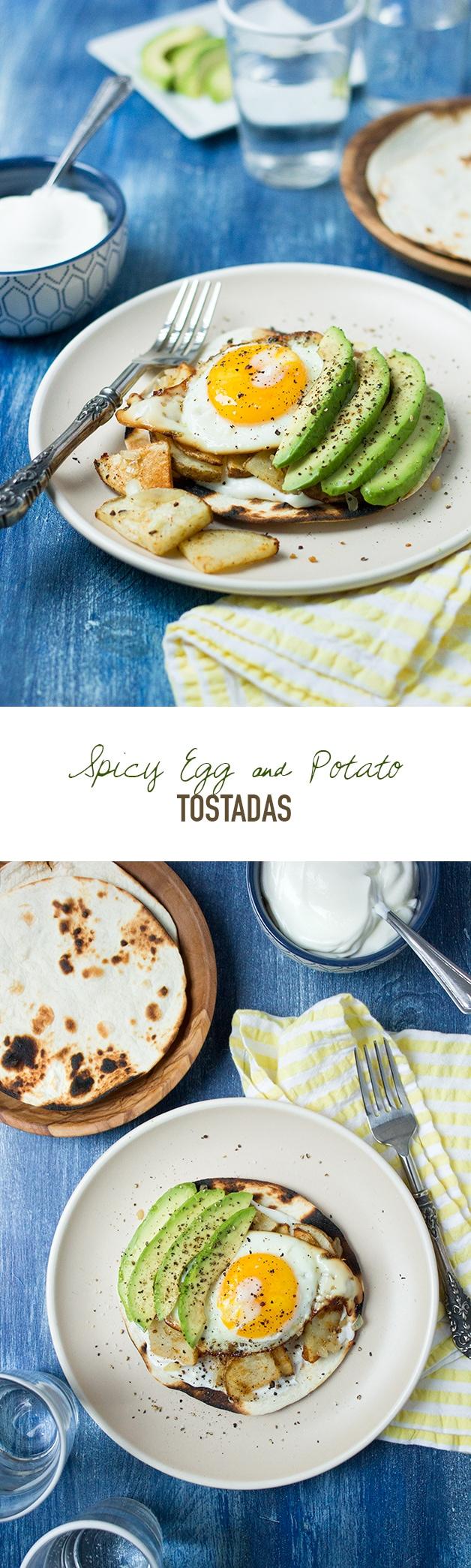 Spicy Egg & Potato Tostadas | www.brighteyedbaker.com