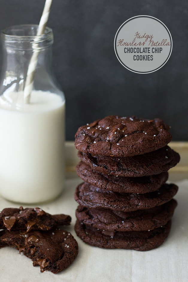 Fudgy Flourless Nutella Chocolate Chip Cookies | www.brighteyedbaker.com