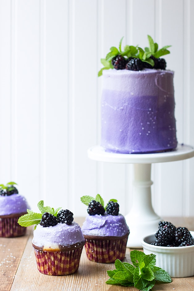 Marble Layer Cake (and Cupcakes!) with Blackberry Cream Cheese Frosting | www.brighteyedbaker.com