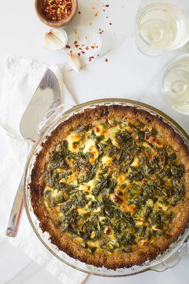Kale, Asparagus, & Chèvre Quiche with Almond Meal Crust - a simple but classy vegetarian quiche with a gluten-free almond-based crust.