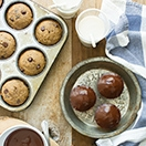 Chocolate-Glazed Espresso & Chocolate Chip Banana Bread Muffins - Light and tender, chocolate-studded banana muffins with a coffee kick, topped with a silky chocolate-espresso ganache. Perfect for a sweet breakfast treat or dessert - no mixer needed! {dairy-free}
