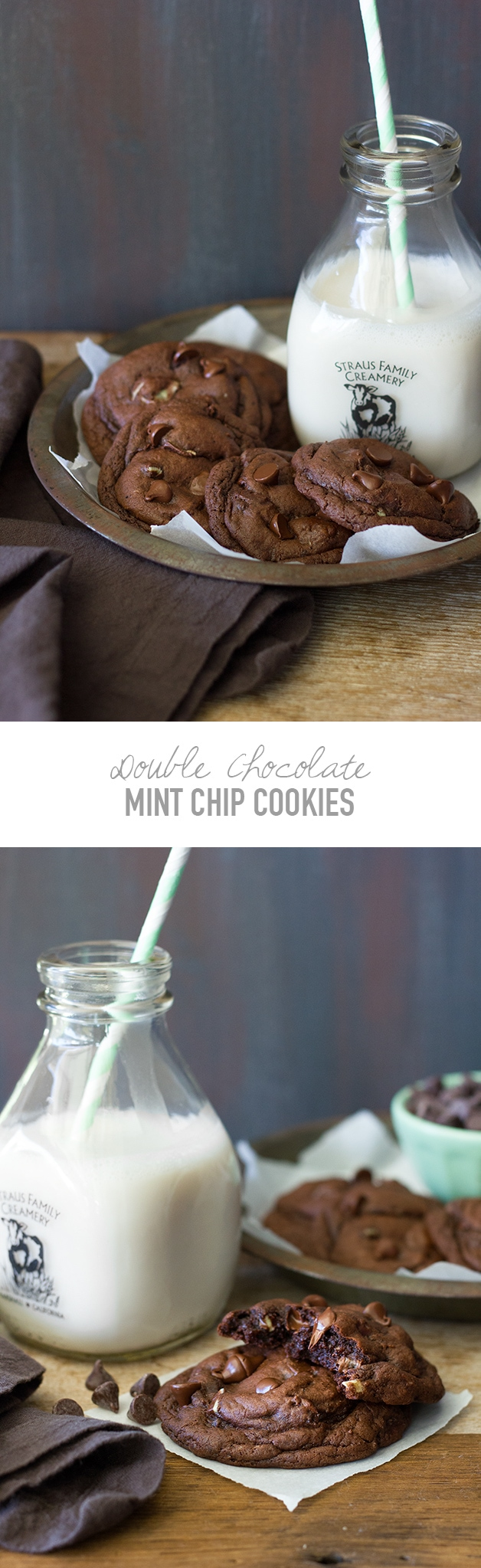 Double Chocolate Mint Chip Cookies - Super thick and fudgy, extra-chocolatey cookies loaded with mint chocolate chips and chunks of Andes mints.