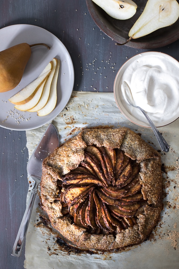 A blend of chai spices add a warm, cozy flavor to this simple pear galette with a flaky & buttery buckwheat crust. {gluten-free, refined sugar-free}