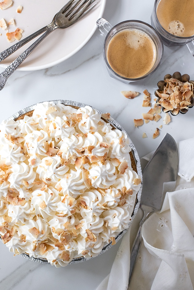 A silky & luscious coconut cream pie made easy with a no-bake graham cracker crust. {gluten-free}