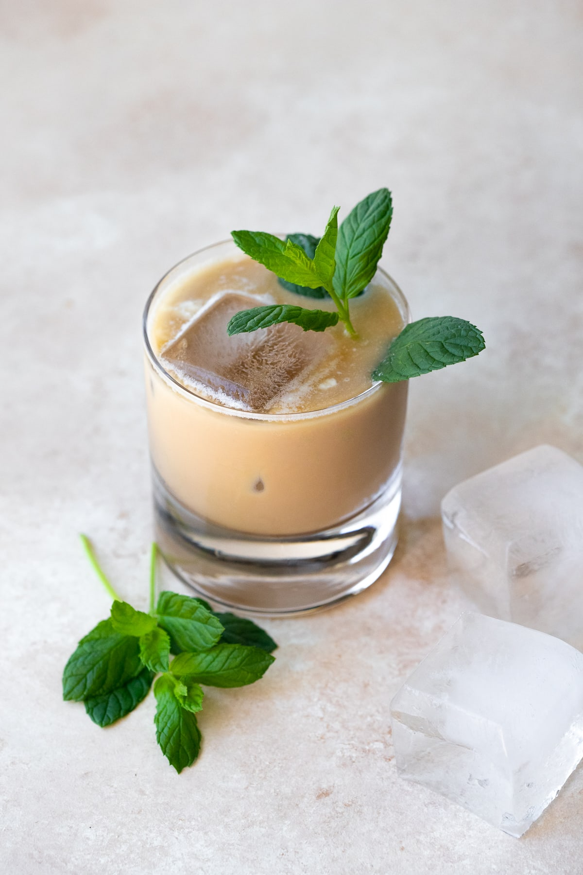 Angled view of a single iced coffee, with mint springs and ice cubes in the foreground.