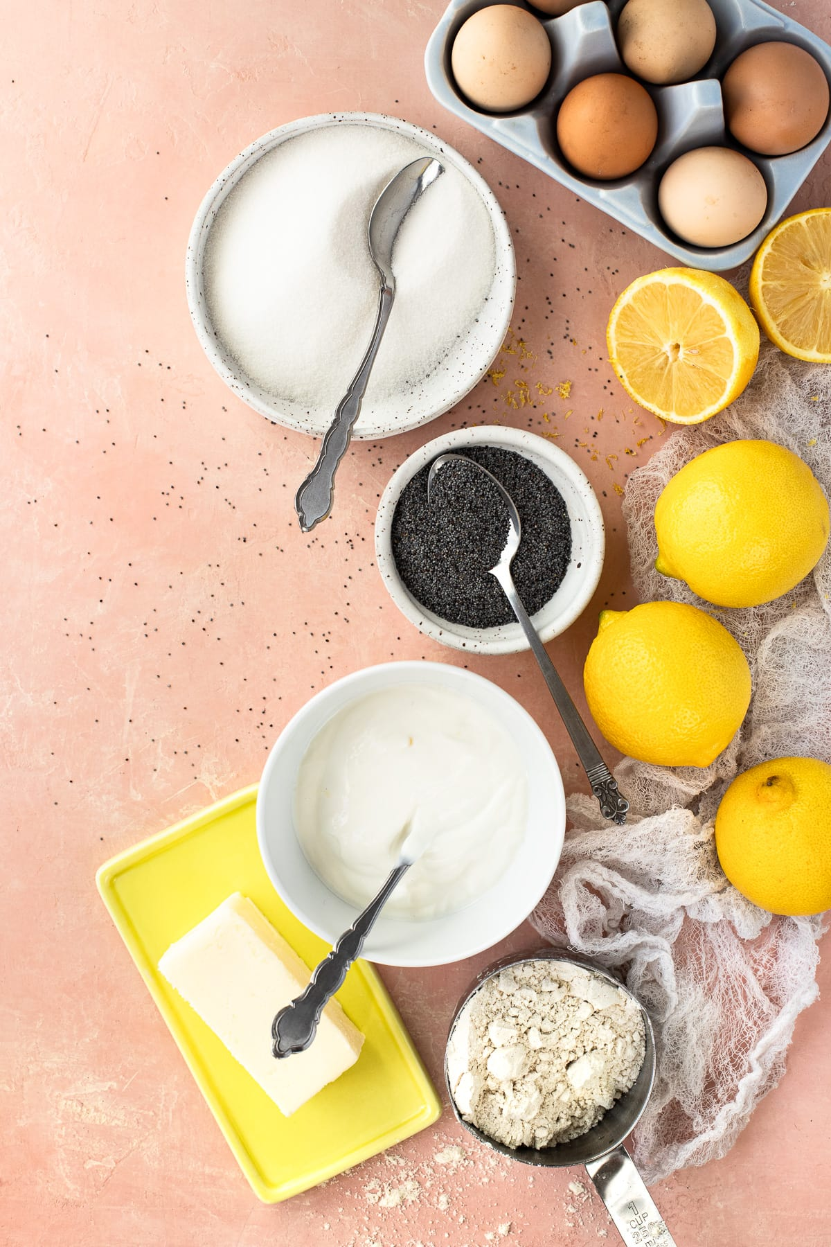 Overhead view of ingredients used to make muffins.