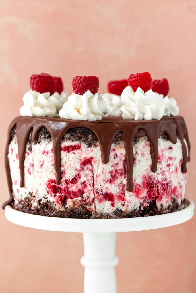 Close up of ice cream cake on a cake stand against a pink backdrop.