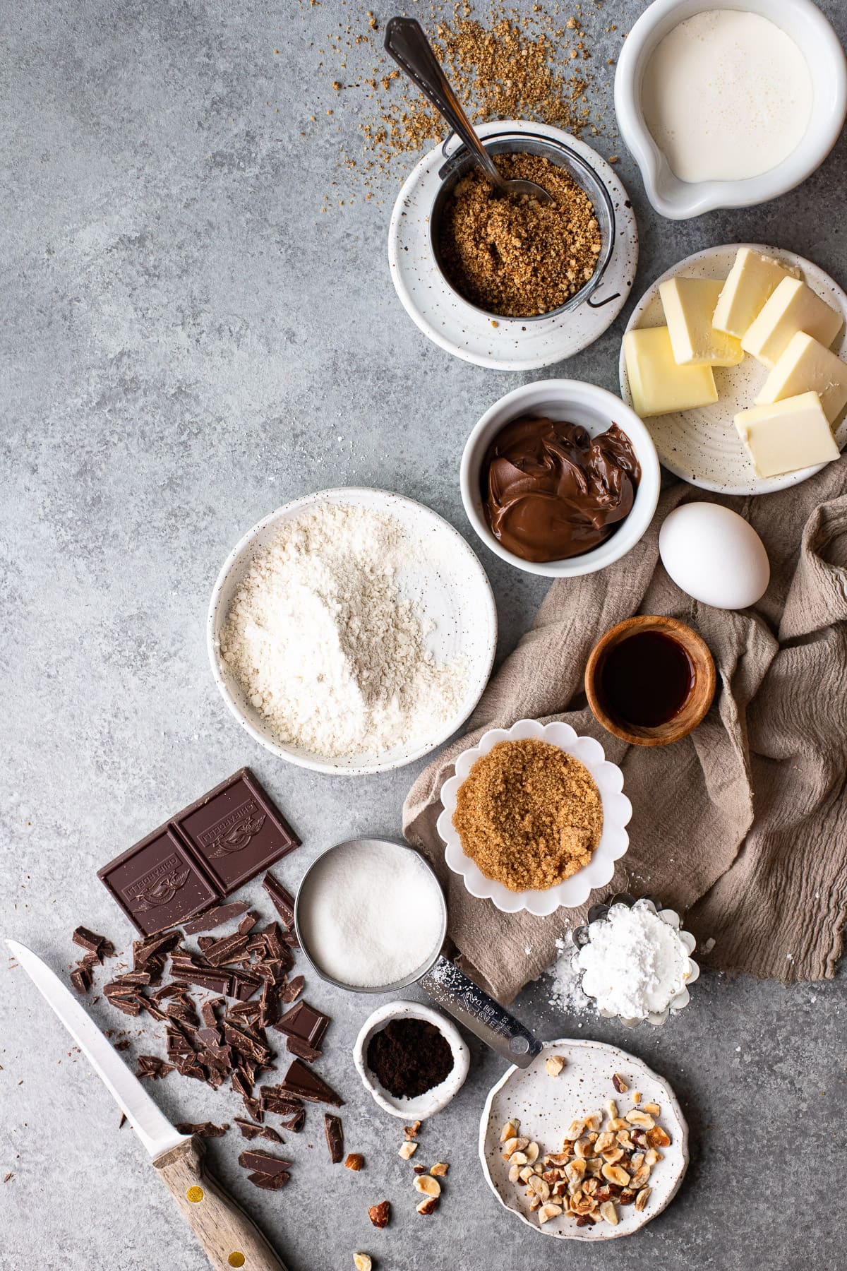 Overhead view of recipe ingredients for Nutella tart.