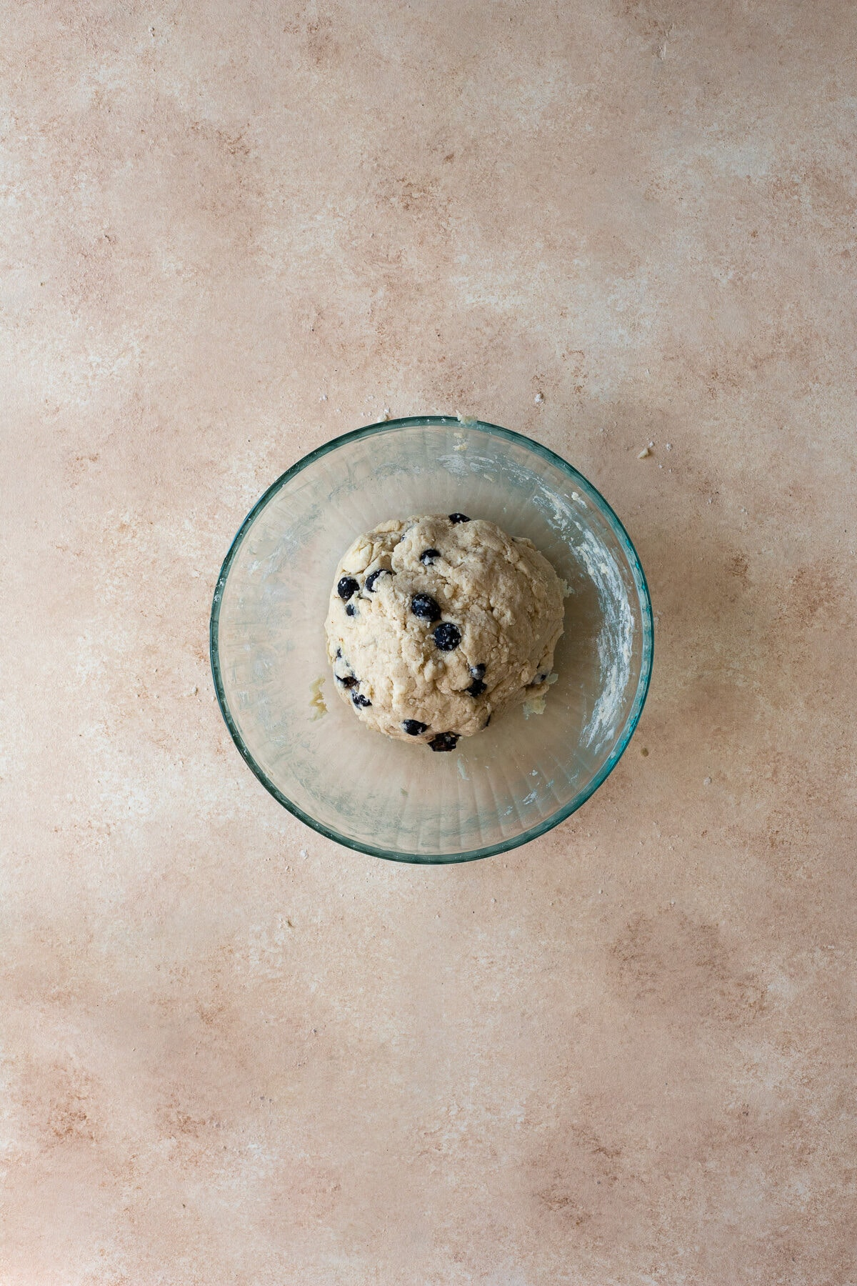 Blueberry scone dough in a mixing bowl.