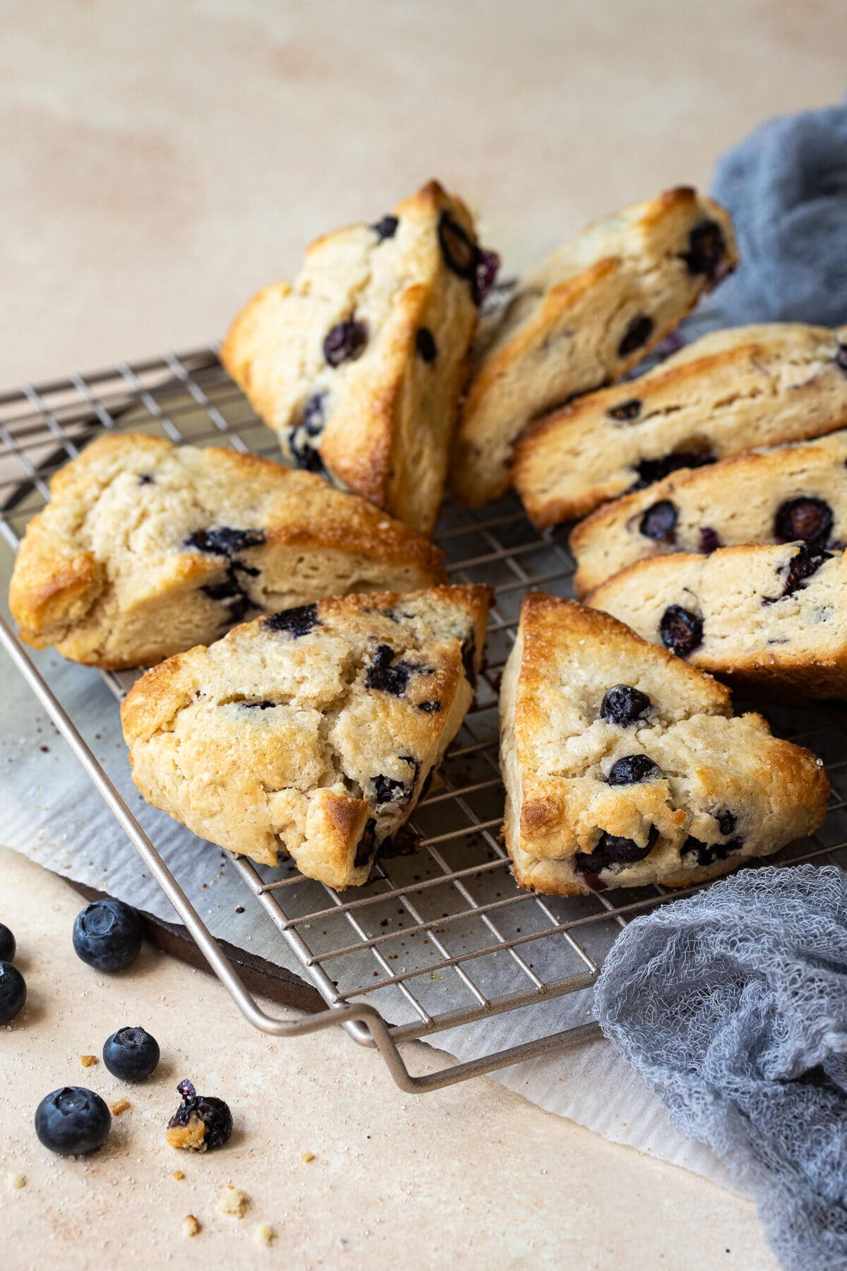 Blueberry scones arranged circularly on a wire rack.
