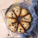Blueberry scones cooling on a wire rack, with text overlay.