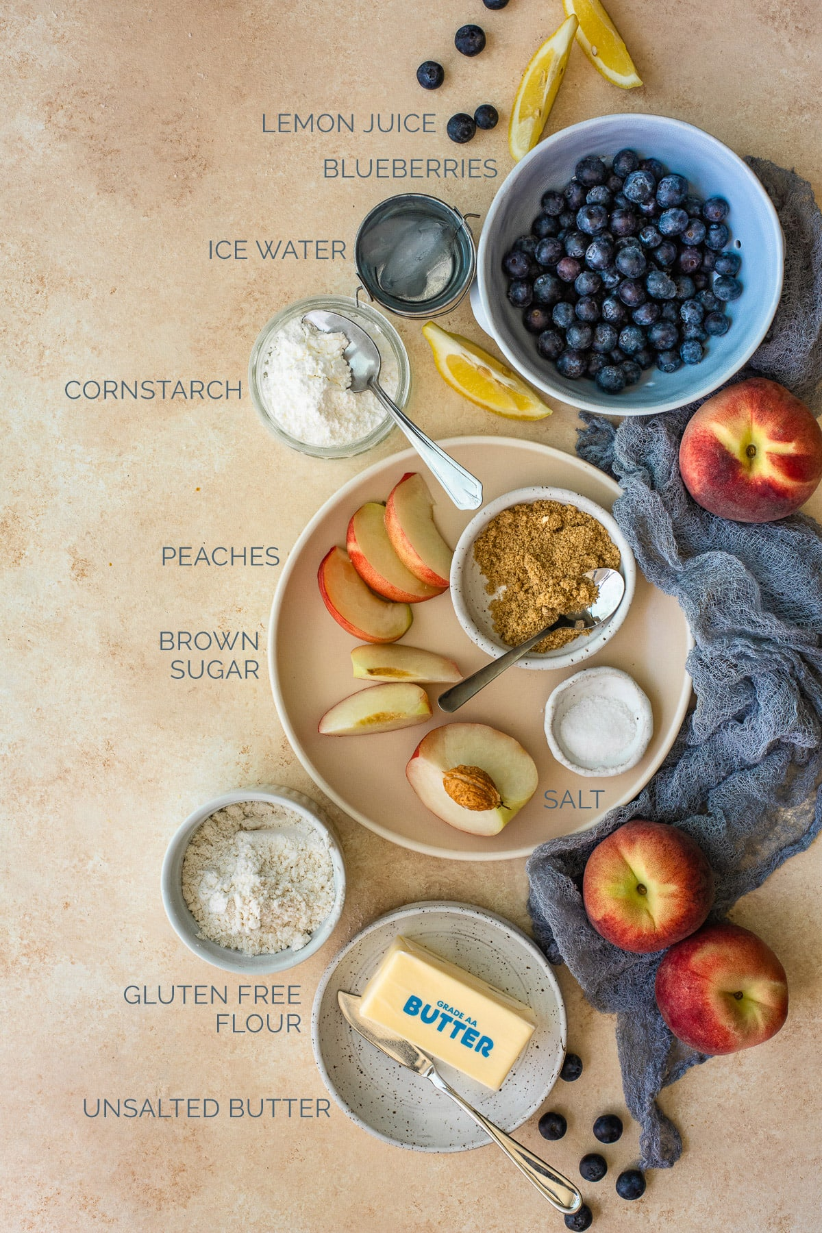 Labeled shot of ingredients needed to make a blueberry-peach cobbler.
