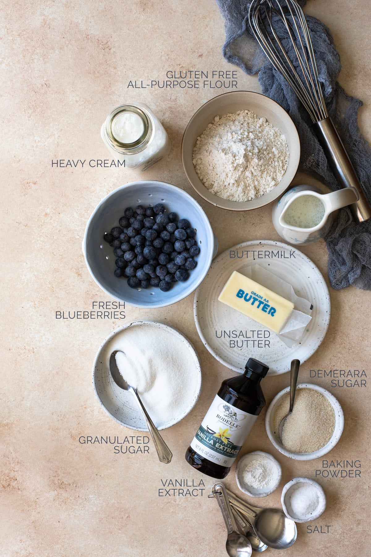 Labeled shot of ingredients needed for blueberry scones.