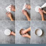 Step by step diagram for how to cut parchment rounds for cake