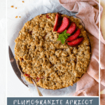 Fruit crumble baked in a pie dish, with text overlay.
