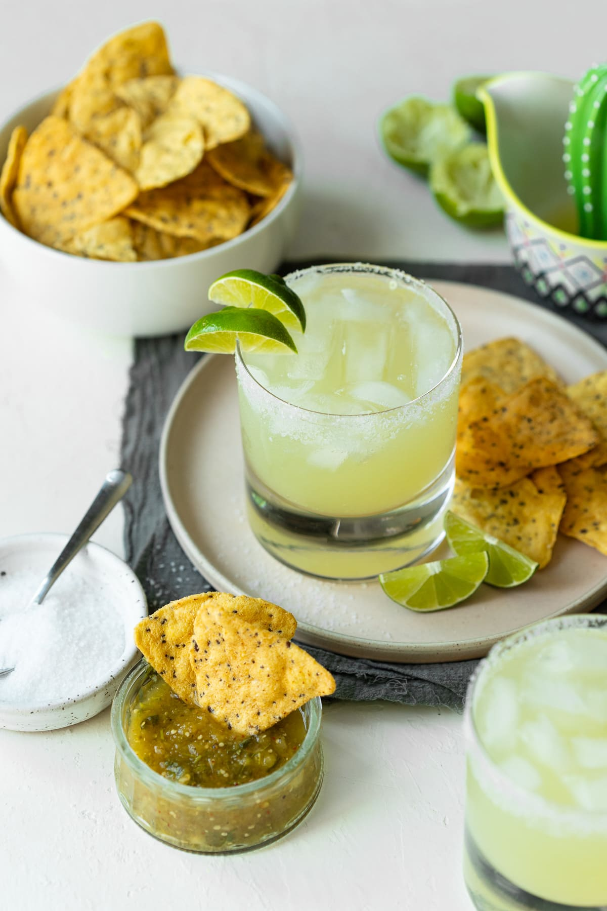 Margarita on the rocks with chips and salsa.