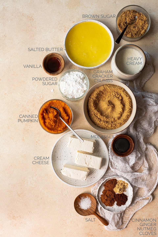 Ingredients to make no-bake pumpkin spice cheesecake.
